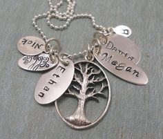 Giant Family Tree  Hand Stamped Necklace  by tinytokensdesigns, $76.00.  My fav!