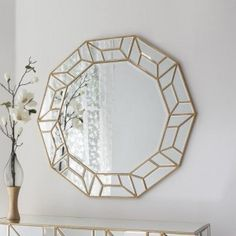 Large modern wall mirror with art deco design. Stunning gold frame perfect for with modern furniture. Buy mirror with free UK delivery. Circular Mirror, Round Wall Mirror, Mirror Set, Round Mirrors, Wall Mirrors, Retro Mirror, Mirror Floor, Large Mirrors, Home Decor Ideas