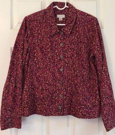 Christopher Banks Cotton Jacket Blazer Size L Pink Print Jean Jacket Style #ChristopherBanks #JeanJacket #Casual