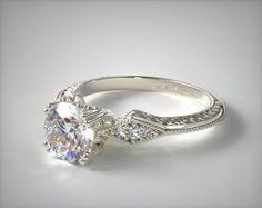 Engraved Diamond Basket Engagement Ring | 14K White Gold | 17709W14 - Mobile