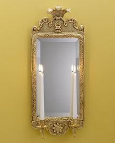 Style #LSFI-88-Wood and gesso prince of wales design with rectangular mirror two light sconce. Shown in standard antiqued gold metal leaf finish.
