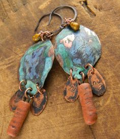 Rustic Patinated Copper Earrings Hand Forged Blue by ChrysalisToo, $35.00