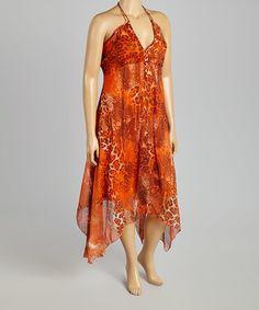 Loving this Orange Leopard Halter Dress - Plus on #zulily! #zulilyfinds