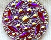 """Czech Glass Button - Translucent Ruby Red Glass """"Beaded"""" Floral Button w/ Iridescent AB - Signed"""