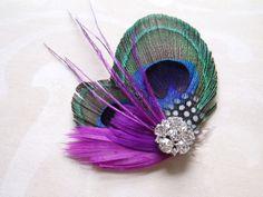 Wedding Hair Accessories, Peacock Bridal Fascinator Feather Hair Piece, feather hair clip purple violet. $32.00, via Etsy.