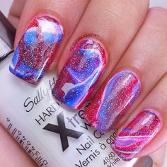 Fourth of July abstract watermarble. Full details on this mani and how I created it can be found on my blog ManicuredandMarvelous.com   #nails #nailart #naildesign #cutenails #fourthofjuly