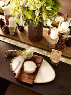 Love the cut wood embellishments to table setting