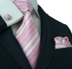 pink ties for wedding - Bing Images Sharp Dressed Man, Well Dressed Men, Mens Silk Ties, Pink And White Stripes, Men's Wardrobe, Tie And Pocket Square, Suit And Tie, Gentleman Style, Swagg