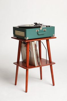 midcentury style record player stand and storage.