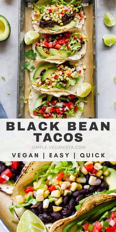 Quick & Easy Vegan Tacos with black beans are perfect when you want something fast, healthy and delicious! Vegan, gluten free, low fat and oil free recipe. Low Fat Vegan Recipes, Low Fat Dinner Recipes, Vegetarian Recipes Dinner, Vegan Dinners, Whole Food Recipes, Healthy Recipes, Low Fat Lunch Ideas, Vegetarian Tacos, Healthy Low Fat Meals