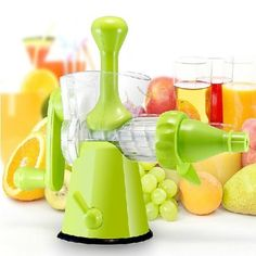 For wheatgrass and sprouts.  $25.  Good reviews.  XCSOURCE® Detachable Manual Hand Crank Juicer - Press ideal for Fruit, Vegetables, Wheat Grass HS83 XCSOURCE,http://www.amazon.com/dp/B00EZGAUIW/ref=cm_sw_r_pi_dp_Ejgstb0HZNM2V9DS