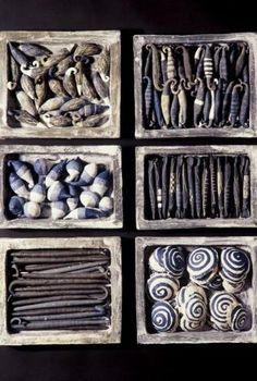 "Barbara Trzybulska""Sea scrap-heap""  61/50 cm  grogged clay painted with engobes"
