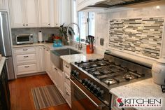 Bronson Maple Bright White Chocolate Glaze...love the sink, counters, and backsplash with this
