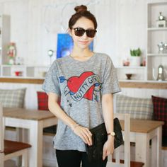 Republic of Korea reigning Women's Clothing Store [CANMART]  Short Sleeve Tee Heart stuffs / Size : Free / Price : 11.94 USD