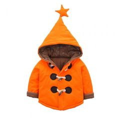 Cute Unisex Toddler Star Hooded Down Sweater Warm Winter Outerwear Orange
