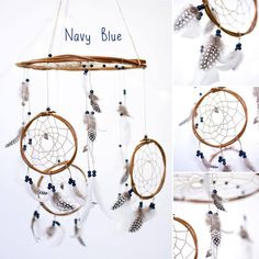 Dreamcatcher Mobile  Navy  Pink  White by HippiebyViki on Etsy