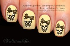 NAILICIOUS TEN Skull with Leopard Bow Nail Wrap Art Water Transfer Decals 16pcs  ST8012 -- Find out more about the great product at the image link.