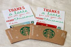 Millie morgan media: thanks a latte diy teacher christmas gi Teacher Christmas Gifts, Christmas Fun, Holiday Fun, Holiday Gifts, Starbucks Christmas, Starbucks Gift Card, Teacher Appreciation Gifts, Teacher Gifts, Thanks A Latte