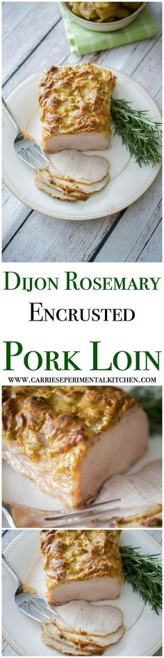 The mild flavor of Dijon mustard combined with the woodsy flavor of fresh rosemary, make this Dijon Rosemary Encrusted Pork Loin the perfect meal for holidays or Sunday Supper.