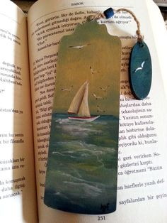 Wood book accessories painted bookmarks handmade by AxiKedi