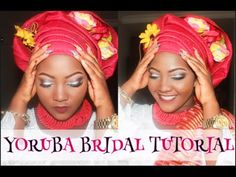 How to tie Gele: Bridal style II - YouTube Natural Wedding Makeup, Wedding Makeup Looks, Wedding Looks, African Hats, African Fashion, Doek Styles, How To Tie Gele, Nigerian Dress, African Head Wraps