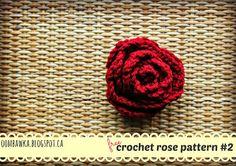 Oombawka Design *Crochet*: Free Crochet Pattern - Rose Brooch with Leaves