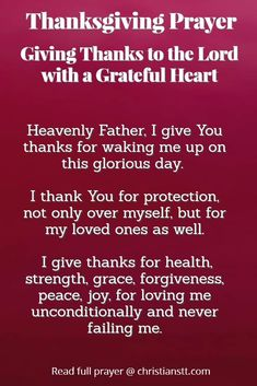 Prayer: Give Thanks to the Lord, with a Grateful Heart
