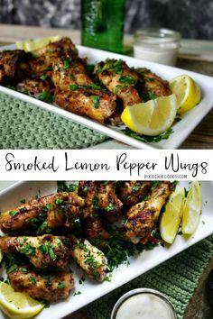 Lemon Peper Wings, Lemon Pepper Chicken Wings, Smoke Chicken Wings Recipe, Smoked Chicken Wings, Pellet Grill Recipes, Grilling Recipes, Venison Recipes, Sausage Recipes, Smoked Chicken Recipes