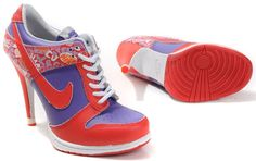 Womens White Red and Blue Nike High Heels Dunk SB Low