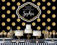 Lunares fondo negro y oro | Banner de fiesta de adultos | Cartel | Señalización | Personalizado | Para imprimir sólo | Telón de fondo de cumpleaños