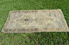 Distressed vintage Turkish Oushak area rug or Runner With pale colors // Gray, cream pale aqua, purple and khaki