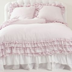 #pink #ruffle #bed