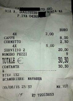 30 euro per 4 #caffè e un #cornetto in un bar di #Ischia : lo #scontrino viene caricato su internet