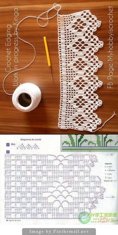 The edging in the photo says it is from a pattern found in the web but does not link to it. The chart below is almost identical, only the diamond is 1 row larger and the left border alternates open and filled meshes, whereas on the photo the meshes to the Filet Crochet, Crochet Doily Diagram, Crochet Edging Patterns, Lace Knitting Patterns, Crochet Lace Edging, Crochet Leaves, Crochet Motifs, Crochet Borders, Doily Patterns