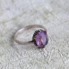 vintage sterling silver amethyst ring