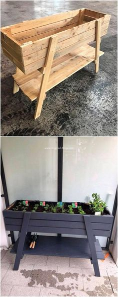 In various ideas of the home furniture options having wood pallet planter stand is one of the ideal alternative to opt out Such a simple and plain sort of designing image. Diy Pallet Projects, Pallet Ideas, Wood Projects, Garden Projects, Wood Pallet Planters, Wood Pallets, Garden Pallet, Pallet Patio, Diy Planters Outdoor
