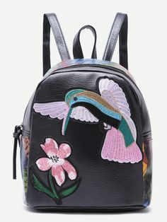 Black Bird Embroidered PU Backpack Flower Bag bff5f67a3d80b