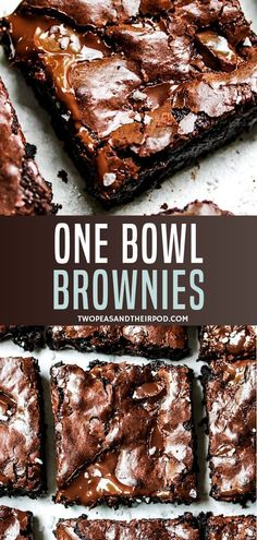 Best Brownie Recipe-you only need ONE bowl to make these fudgy, chewy, gooey, chocolaty brownies with shiny crackly tops! This easy homemade brownie recipe will be your GO TO! A quick and easy dessert -you will never buy a boxed brownie mix again! 13 Desserts, Quick Dessert Recipes, Quick Easy Desserts, Delicious Desserts, Easy Homemade Recipes, Baking Recipes Quick And Easy, Quick And Easy Sweet Treats, Party Desserts, Health Desserts