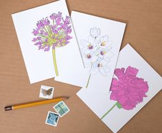 Great #gift idea for the #garden lover //  Floral Note Card  //  Illustrated Flowers  //  Set by acbcDesign, $11.00