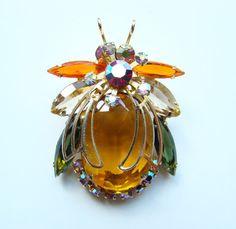 Juliana DeLizza+Elster Bug Insect Rhinestone Brooch