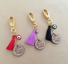 Wooden Quote Charm Tassel Keyring with Gold Plated by IzouBijoux