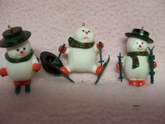 3 Vintage Snowman Ornaments Miniature Skiing by FabVintageEstates, $9.00