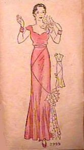A 1930s Evening Dress Pattern in the Vintage Pattern Collection of SunbonnstSmart.com