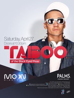 Taboo of the Black Eyed Peas takes over Moon on April 27th