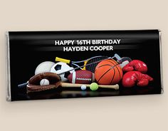 Personalized Chocolate Bar Favors for Boy 16th Birthday -- WH Candy can create a custom candy favor for any theme! See sports themes, music themes, army themes and more.