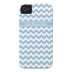 Custom iPhone 4 Case-Mate Case Blue White Chevrons