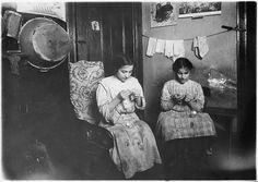 Katie, 13 years old, and Angeline, 11 years old, making cuffs, January 1912 | Flickr - Photo Sharing!