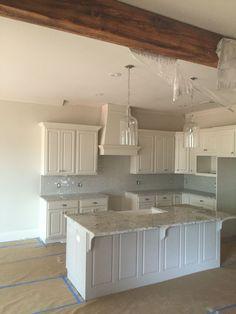 Farmhouse kitchen rustic modern wood beams white ice granite subway backsplash loves ❤️