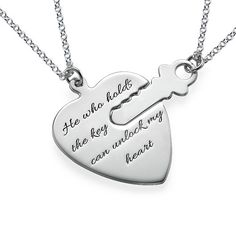 Engraved Key to My Heart Necklace | MyNameNecklace