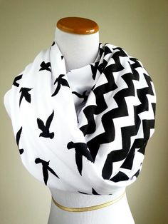 Black Bird Chevron infinity scarf- soft jersey knit- Back order